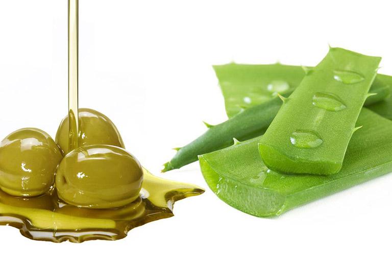 Nha đam và dầu oliu trị dị ứng da mặt