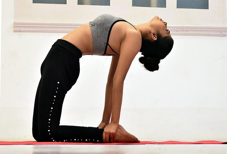 Ushtrasana (Tư thế lạc đà) tác động đến toàn bộ cơ quan tiêu hóa và vùng cột sống thắt lưng