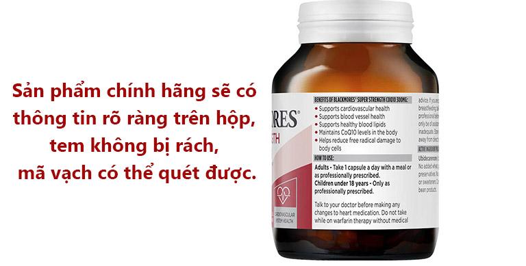 Người tiêu dùng nên kiểm tra kỹ sản phẩm Blackmores Super Strength CoQ10 300 mg để tránh hàng kém chất lượng