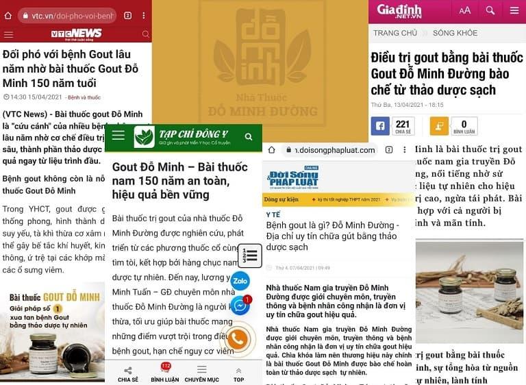 Bài thuốc gout Đỗ Minh được các kênh báo chí uy tín đưa tin
