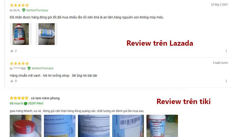 Đánh giá từ người dùng trên lazada và tiki