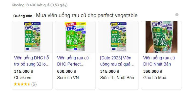 Viên uống rau củ DHC Perfect Vegetable có thể mua online tại nhiều địa chỉ