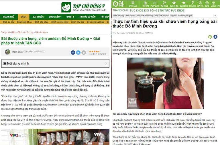Một số bài báo về bài thuốc viêm họng, viêm amidan Đỗ Minh Đường