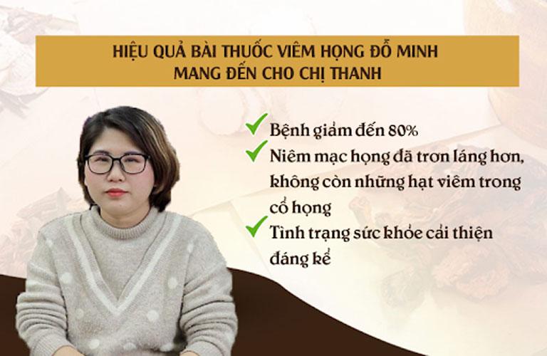 Kết quả điều trị của chị Thanh