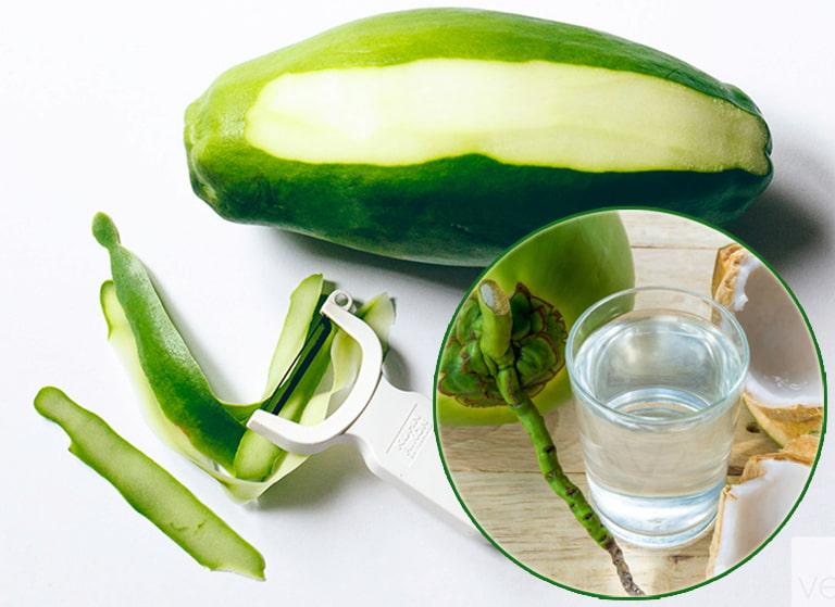 Đu đủ xanh và nước dừa chữa bệnh gout an toàn