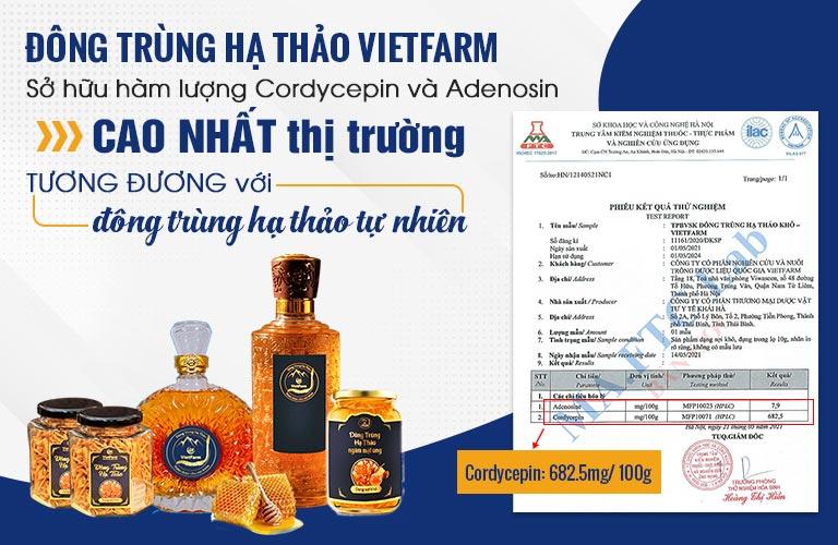 Giấy kiểm định hàm lượng hoạt chất Cordycepin và Adenosine cao vượt trội của Đông trùng hạ thảo Vietfarm