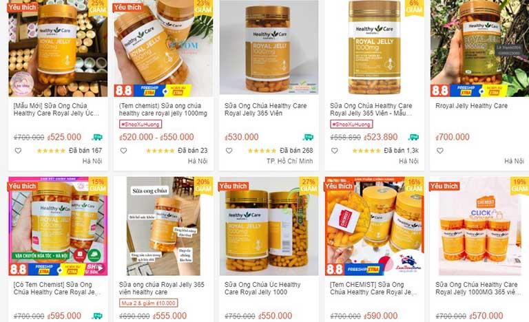 Healthy Care Royal Jelly bán nhiều trên sàn thương mại điện tử
