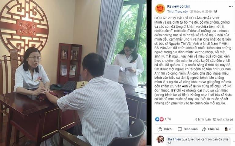Một số khách hàng còn đánh giá cao khả năng điều trị của TS.BS Nguyễn Thị Vân Anh