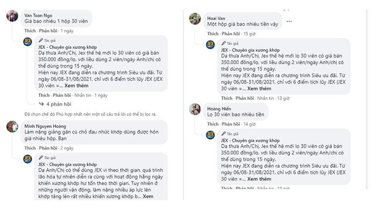 Nhiều bình luận quan tâm đến sản phẩm trên Facebook