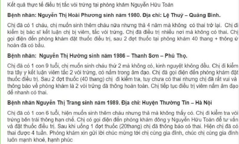 Bài thuốc Thông Ứ Hoàn của Lương y Nguyễn Hữu Toàn chữa tắc vòi trứng đã dành được không ít đánh giá tích cực