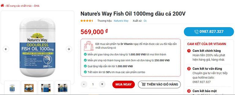 Nature's Way Fish Oil 1000mg 200 Capsules được bán trên Dr Vitamin