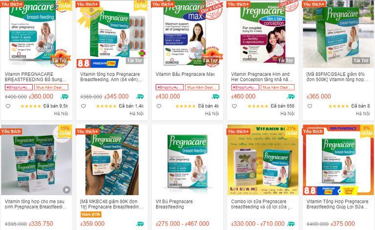Viên uống Pregnacare Breastfeeding đang được bán với nhiều mức giá khác nhau