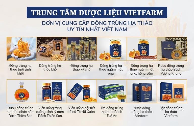 Các sản phẩm đa dạng của Đông trùng hạ thảo Vietfarm